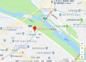 二子新地の美容室Anagramの地図